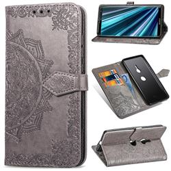 Embossing Imprint Mandala Flower Leather Wallet Case for Sony Xperia XZ3 - Gray