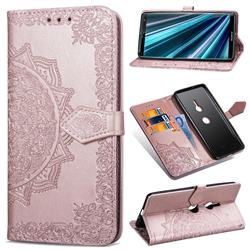 Embossing Imprint Mandala Flower Leather Wallet Case for Sony Xperia XZ3 - Rose Gold