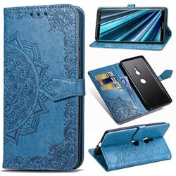 Embossing Imprint Mandala Flower Leather Wallet Case for Sony Xperia XZ3 - Blue