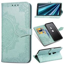 Embossing Imprint Mandala Flower Leather Wallet Case for Sony Xperia XZ3 - Green