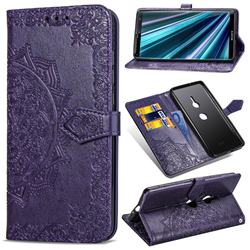 Embossing Imprint Mandala Flower Leather Wallet Case for Sony Xperia XZ3 - Purple