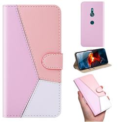 Tricolour Stitching Wallet Flip Cover for Sony Xperia XZ3 - Pink