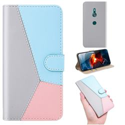 Tricolour Stitching Wallet Flip Cover for Sony Xperia XZ3 - Gray