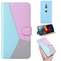 Tricolour Stitching Wallet Flip Cover for Sony Xperia XZ3 - Blue