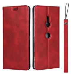 Calf Pattern Magnetic Automatic Suction Leather Wallet Case for Sony Xperia XZ3 - Red