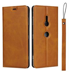 Calf Pattern Magnetic Automatic Suction Leather Wallet Case for Sony Xperia XZ3 - Brown