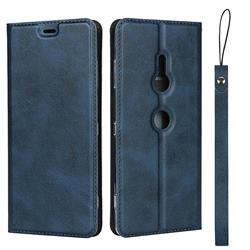 Calf Pattern Magnetic Automatic Suction Leather Wallet Case for Sony Xperia XZ3 - Blue