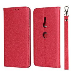 Ultra Slim Magnetic Automatic Suction Silk Lanyard Leather Flip Cover for Sony Xperia XZ3 - Red