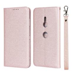 Ultra Slim Magnetic Automatic Suction Silk Lanyard Leather Flip Cover for Sony Xperia XZ3 - Rose Gold