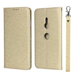 Ultra Slim Magnetic Automatic Suction Silk Lanyard Leather Flip Cover for Sony Xperia XZ3 - Golden