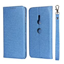 Ultra Slim Magnetic Automatic Suction Silk Lanyard Leather Flip Cover for Sony Xperia XZ3 - Sky Blue