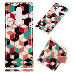 Three-dimensional Square Soft TPU Marble Pattern Phone Case for Sony Xperia XZ4