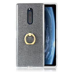 Luxury Soft TPU Glitter Back Ring Cover with 360 Rotate Finger Holder Buckle for Sony Xperia 1 / Xperia XZ4 - Black