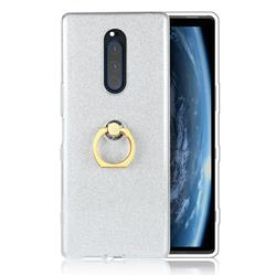 Luxury Soft TPU Glitter Back Ring Cover with 360 Rotate Finger Holder Buckle for Sony Xperia 1 / Xperia XZ4 - White