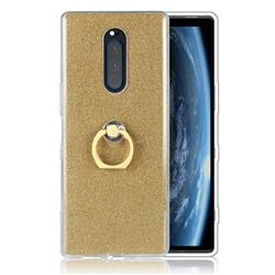 Luxury Soft TPU Glitter Back Ring Cover with 360 Rotate Finger Holder Buckle for Sony Xperia 1 / Xperia XZ4 - Golden