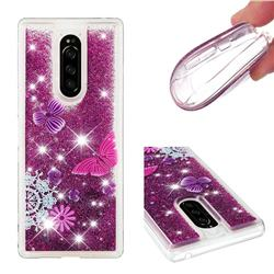 Purple Flower Butterfly Dynamic Liquid Glitter Quicksand Soft TPU Case for Sony Xperia 1 / Xperia XZ4