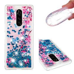 Blue Plum Blossom Dynamic Liquid Glitter Quicksand Soft TPU Case for Sony Xperia 1 / Xperia XZ4