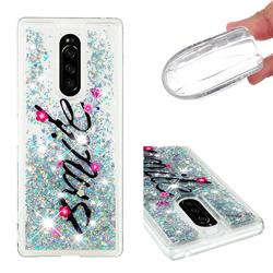 Smile Flower Dynamic Liquid Glitter Quicksand Soft TPU Case for Sony Xperia 1 / Xperia XZ4