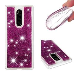 Dynamic Liquid Glitter Quicksand Sequins TPU Phone Case for Sony Xperia 1 / Xperia XZ4 - Purple