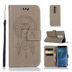Intricate Embossing Owl Campanula Leather Wallet Case for Sony Xperia 1 / Xperia XZ4 - Grey