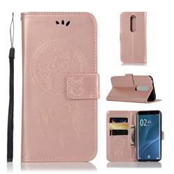 Intricate Embossing Owl Campanula Leather Wallet Case for Sony Xperia 1 / Xperia XZ4 - Rose Gold