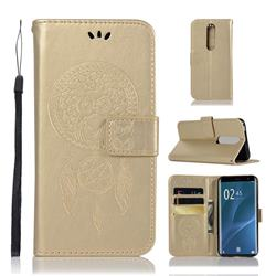 Intricate Embossing Owl Campanula Leather Wallet Case for Sony Xperia 1 / Xperia XZ4 - Champagne