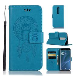 Intricate Embossing Owl Campanula Leather Wallet Case for Sony Xperia 1 / Xperia XZ4 - Blue