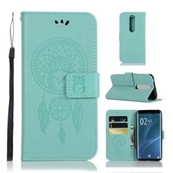 Intricate Embossing Owl Campanula Leather Wallet Case for Sony Xperia 1 / Xperia XZ4 - Green