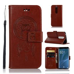 Intricate Embossing Owl Campanula Leather Wallet Case for Sony Xperia 1 / Xperia XZ4 - Brown