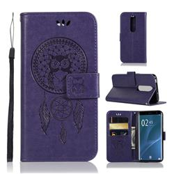 Intricate Embossing Owl Campanula Leather Wallet Case for Sony Xperia 1 / Xperia XZ4 - Purple
