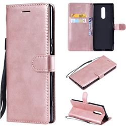 Retro Greek Classic Smooth PU Leather Wallet Phone Case for Sony Xperia 1 / Xperia XZ4 - Rose Gold