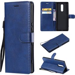 Retro Greek Classic Smooth PU Leather Wallet Phone Case for Sony Xperia 1 / Xperia XZ4 - Blue