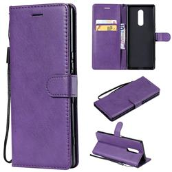 Retro Greek Classic Smooth PU Leather Wallet Phone Case for Sony Xperia 1 / Xperia XZ4 - Purple