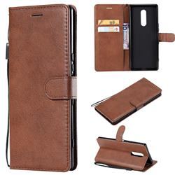 Retro Greek Classic Smooth PU Leather Wallet Phone Case for Sony Xperia 1 / Xperia XZ4 - Brown