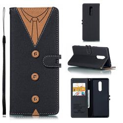 Mens Button Clothing Style Leather Wallet Phone Case for Sony Xperia 1 / Xperia XZ4 - Black