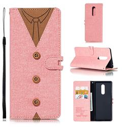 Mens Button Clothing Style Leather Wallet Phone Case for Sony Xperia 1 / Xperia XZ4 - Pink