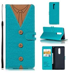 Mens Button Clothing Style Leather Wallet Phone Case for Sony Xperia 1 / Xperia XZ4 - Green