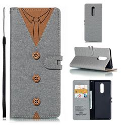 Mens Button Clothing Style Leather Wallet Phone Case for Sony Xperia XZ4 - Gray
