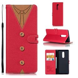 Mens Button Clothing Style Leather Wallet Phone Case for Sony Xperia 1 / Xperia XZ4 - Red