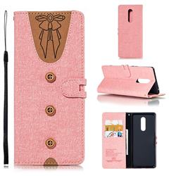 Ladies Bow Clothes Pattern Leather Wallet Phone Case for Sony Xperia XZ4 - Pink