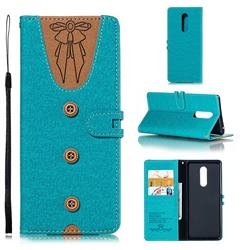 Ladies Bow Clothes Pattern Leather Wallet Phone Case for Sony Xperia 1 / Xperia XZ4 - Green
