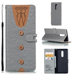 Ladies Bow Clothes Pattern Leather Wallet Phone Case for Sony Xperia 1 / Xperia XZ4 - Gray