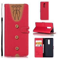 Ladies Bow Clothes Pattern Leather Wallet Phone Case for Sony Xperia 1 / Xperia XZ4 - Red