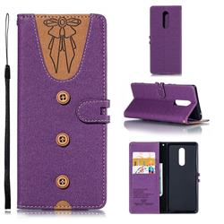 Ladies Bow Clothes Pattern Leather Wallet Phone Case for Sony Xperia XZ4 - Purple