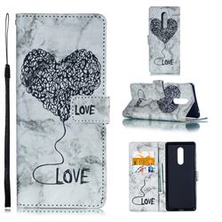 Marble Heart PU Leather Wallet Phone Case for Sony Xperia 1 / Xperia XZ4 - Black