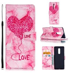 Marble Heart PU Leather Wallet Phone Case for Sony Xperia XZ4 - Red