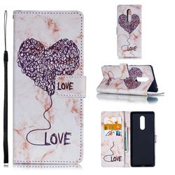 Marble Heart PU Leather Wallet Phone Case for Sony Xperia 1 / Xperia XZ4 - Purple