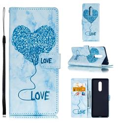 Marble Heart PU Leather Wallet Phone Case for Sony Xperia 1 / Xperia XZ4 - Blue