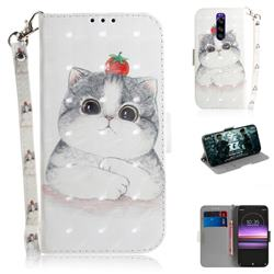 Cute Tomato Cat 3D Painted Leather Wallet Phone Case for Sony Xperia 1 / Xperia XZ4