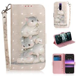 Three Squirrels 3D Painted Leather Wallet Phone Case for Sony Xperia 1 / Xperia XZ4
